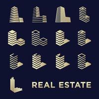 bygg enkel ikonuppsättning och bokstav l för fastigheter