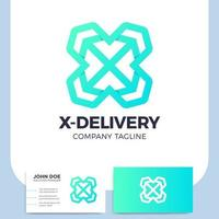 leverans logistisk bokstav x med pil och visitkort
