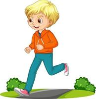 Junge, der Laufübungszeichentrickfilmfigur isoliert tut