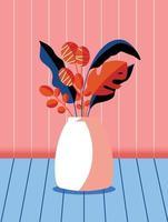 färgglad bukett med vårblommor och grenar i en vas. snygg konstnärlig vertikal kortillustration. vektor