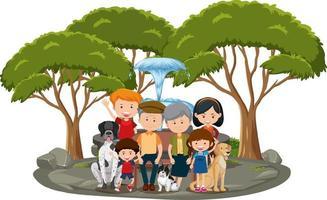 lycklig familj i parken isolerad på vit bakgrund vektor