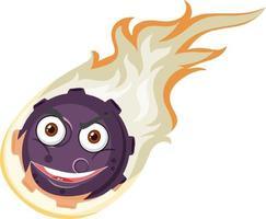 Flammenmeteor-Zeichentrickfigur mit wütendem Gesichtsausdruck auf weißem Hintergrund