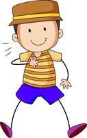 niedlicher Junge Zeichentrickfigur in der Hand gezeichnet Gekritzelart isoliert