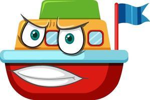 båt leksak seriefigur med ansiktsuttryck