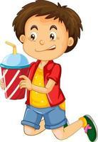 glückliche junge Zeichentrickfigur, die einen Getränkeplastikbecher hält