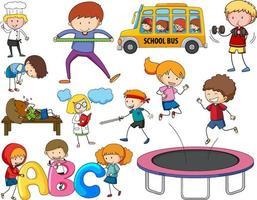 uppsättning olika doodle barn seriefigur