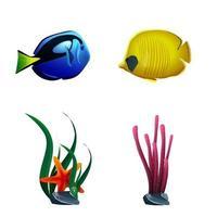 havsfisk och växter isolerad på vit bakgrund vektor