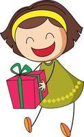 ein Gekritzelkind, das eine Geschenkbox-Zeichentrickfigur isoliert hält