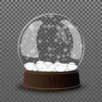 snö glas boll. realistisk blank snöglasbollmall vektor