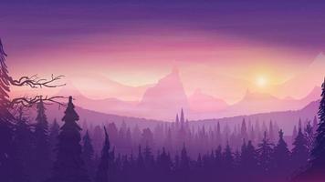 Sonnenuntergang in einer hügeligen Gegend, Fichtenwald, buntem Sternenhimmel und felsigem Reliefhorizont