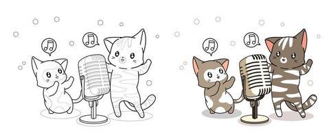 kawaii katter sjunger tecknad målarbok vektor