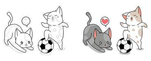 Två söta katter spelar fotbollstecknad målarbok