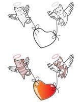 par cupidkatter lyfter stort hjärta tecknad målarbok vektor
