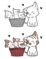 katt och baby katter tecknad målarbok vektor