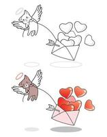 cupid katt lyfter kärlek till bokstäver tecknad målarbok vektor