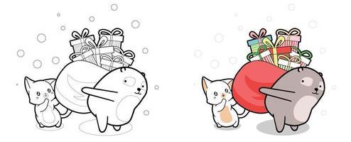 härlig katt och björn lyfter påse med gåvor tecknad målarbok