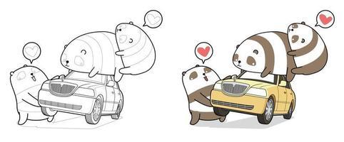 kawaii panda lyfter biltecknad målarbok vektor