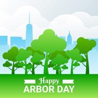 Arbor Day Illustration mit Wald und Stadt über Wolken Hintergrund vektor