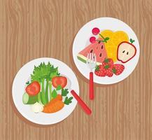 Platte mit frischem und gesundem Obst und Gemüse auf hölzernem Hintergrund vektor