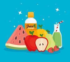 Banner der gesunden Ernährung mit frischen Früchten und Säften vektor