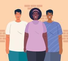 multiethnische Menschen zusammen, Vielfalt und Multikulturalismus Konzept vektor
