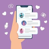 Social-Media-Konzept mit Menschen, die über das Smartphone chatten vektor