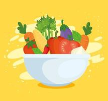 friska och färska grönsaker i en skål vektor