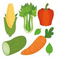 uppsättning färska och hälsosamma grönsaker vektor
