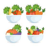 hälsosam matkoncept, färska grönsaker i skålar vektor