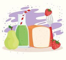 gesundes Essen mit Obst, Brot und Saft vektor
