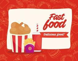 Fast-Food-Poster mit gebratenem Huhn, Pommes und Getränk vektor