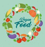 banner med färska och hälsosamma grönsaker för vegansk mat koncept vektor