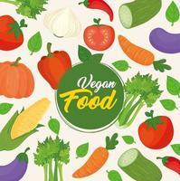 banner med grönsaker, vegansk mat koncept vektor