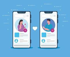Social-Media-Konzept mit jungen Paaren, die über Smartphone chatten vektor