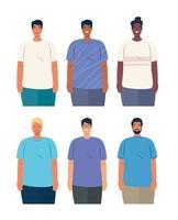 Interracial Männer gruppieren sich, Vielfalt und Multikulturalismus Konzept vektor