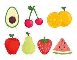 uppsättning färsk frukt vektor