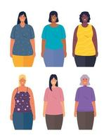 interracial kvinnor tillsammans, mångfald och multikulturalism koncept vektor