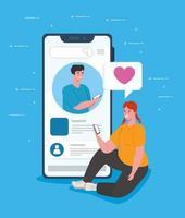 sociala medier koncept med unga par chattar via smartphone