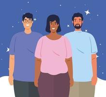 multietniska människor tillsammans, mångfald och mångkulturella koncept vektor