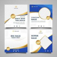 möbler försäljning för sociala medier post mallar set vektor