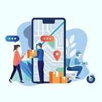 leveransservicepaket med skoter på ett mobiltelefonkoncept