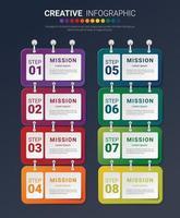 Infografik-Entwurfsvorlage mit Option 8 für die Präsentation von Infografiken, Zeitleisten-Infografiken, Schritten oder Prozessen. Vektorillustration.