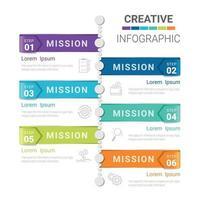 Timeline-Infografik-Vorlage mit 5 Optionen, Vektor-Infografiken-Design und Präsentationsgeschäft können für Workflow-Layout, Schritte oder Prozesse verwendet werden. vektor