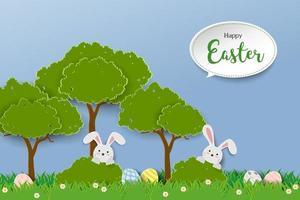 lyckligt påskhälsningskort med kaniner som gömmer sig i gräs på pappersskuren stil
