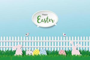 lyckligt påskhälsningskort med söta kaniner i vacker trädgård med ägg