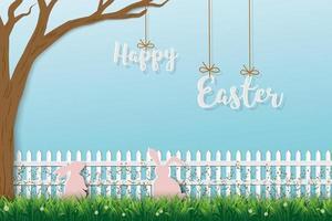 lyckligt påskhälsningskort med söta kaniner i vacker trädgård
