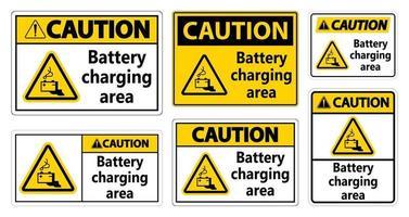 Vorsicht Batterieladebereich Zeichen auf weißem Hintergrund vektor