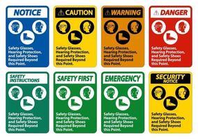 skyddsglasögon, hörselskydd och skyddsskor krävs utöver denna punkt på vit bakgrund
