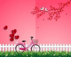 glad Alla hjärtans dag med fågelpar glad i kärlekens trädgård vektor