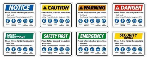 Bitte befolgen Sie die üblichen Vorsichtsmaßnahmen, waschen Sie Ihre Hände, tragen Sie persönliche Schutzausrüstung, Handschuhe, Schutzkleidung, Masken, Augenschutz, Gesichtsschutz vektor